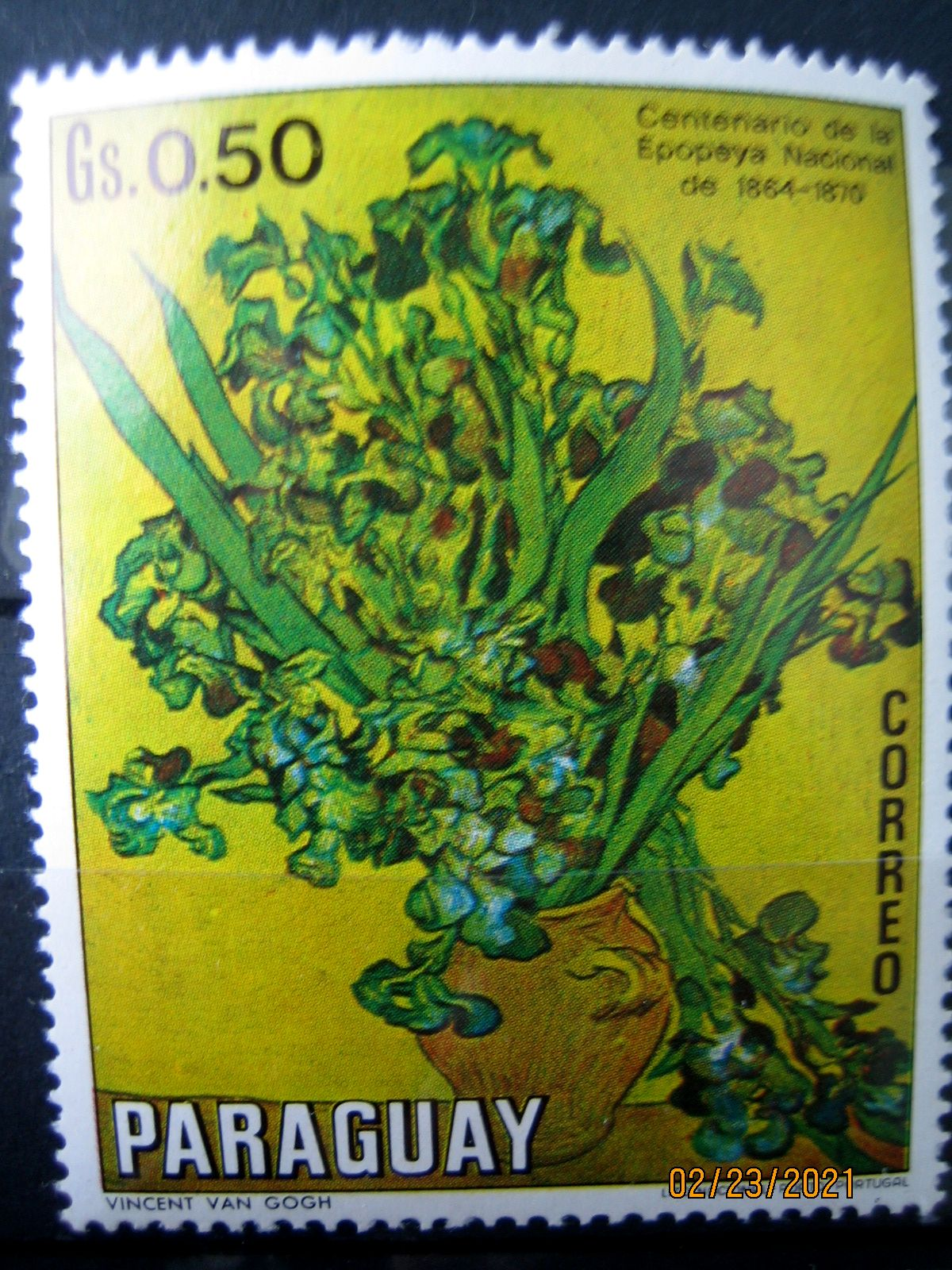 Марка Парагвай, 1970 г. Флора, 100-летие национального эпоса 1864-1870, на марке представлена Цветочная композиция Ван Гога; Mi:PY 2097, Sn:PY 1300, Yt:PY 1094, номинал — 0.50 Gs (гурани)