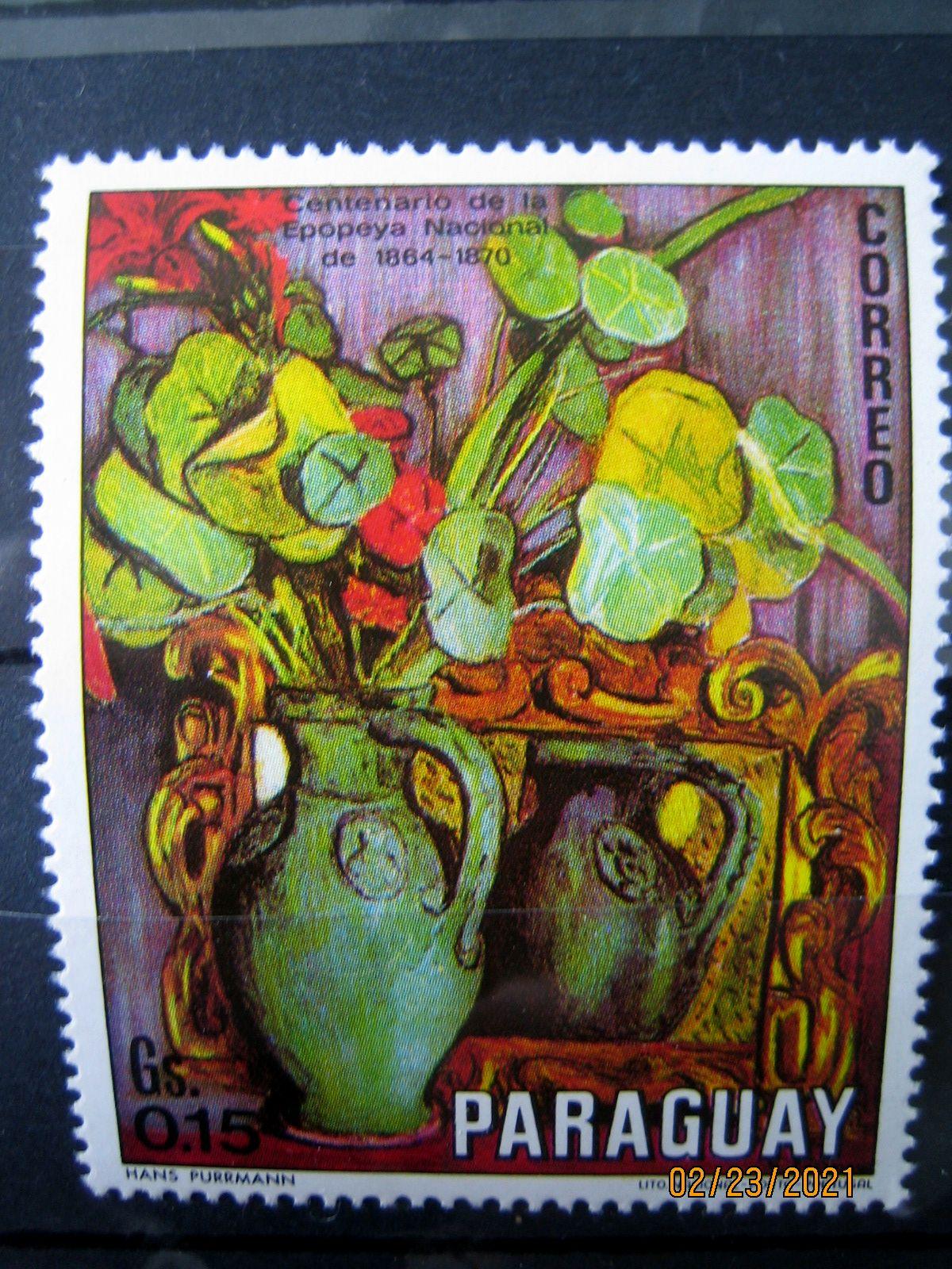 Марка Парагвай, 1970 г. Флора, 100-летие национального эпоса 1864-1870, на марке представлена Цветочная композиция Пурмана; Mi:PY 2093, Sn:PY 1299b, Yt:PY 1090, номинал — 0.15 Gs (гурани)