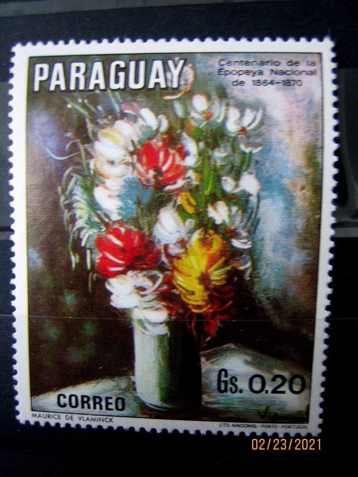 Марка Парагвай, 1970 г. Флора, 100-летие национального эпоса 1864-1870, на марке представлена Цветочная композиция по Вламинку, Mi:PY 2094, Sn:PY 1299c, Yt:PY 1091, номинал — 0.20 Gs (гурани)