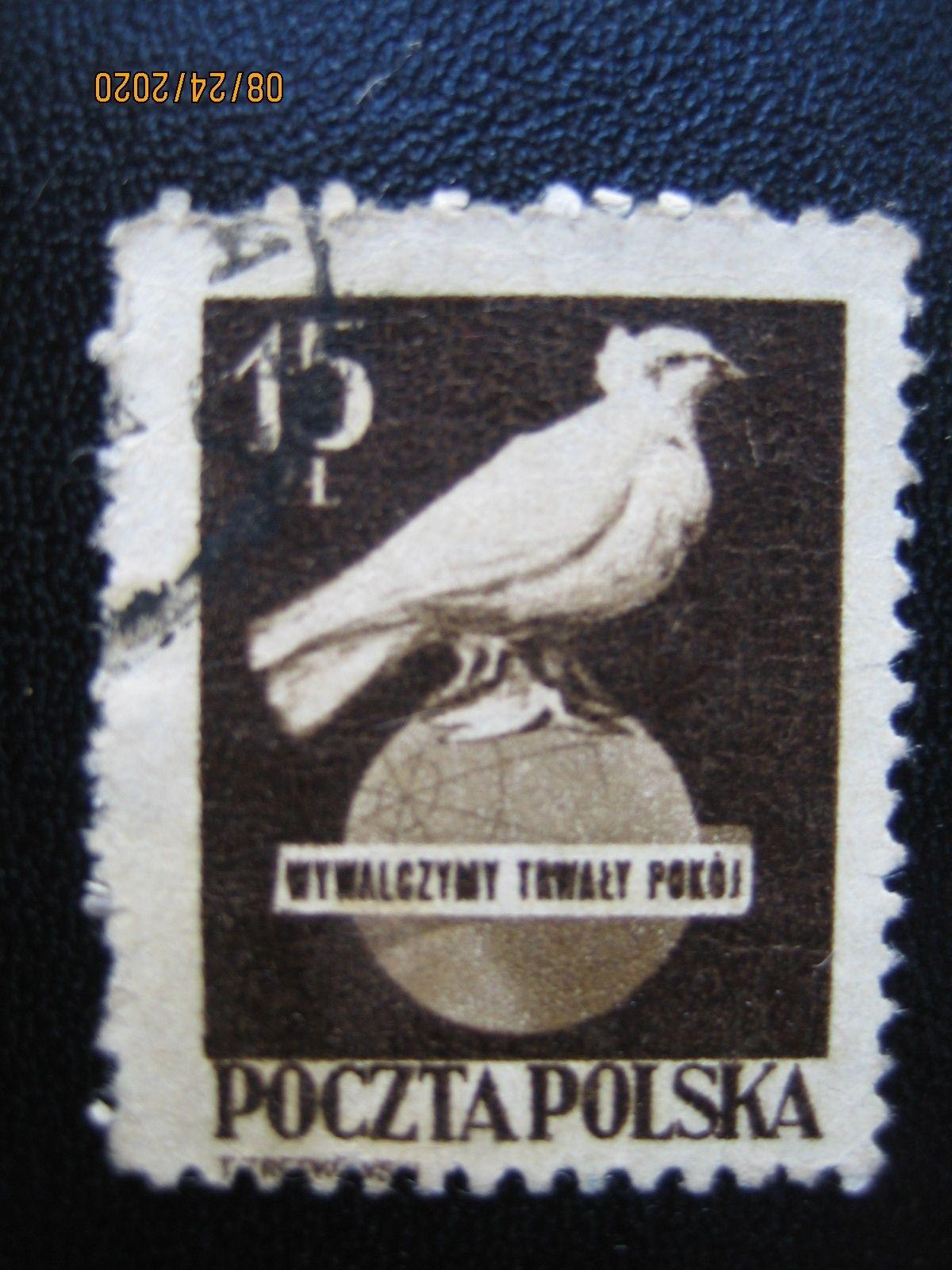 марка Польши 1950-05-15  Пабло Пикассо «Глубь мира» , марка номинал — 15 ZL, Mi:PL 561, Sn:PL 476, Yt:PL 571, Sg:PL 672, AFA:PL 558, Pol:PL 518