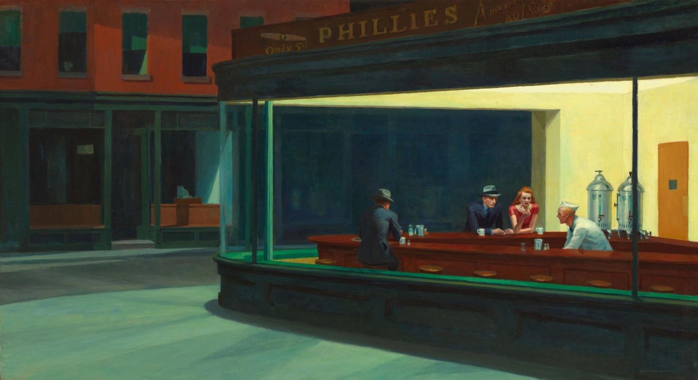 Эдвард Хоппер «Ночные ястребы», 1942, 84.1 × 152.4 см Чикагский институт искусств, Чикаго
