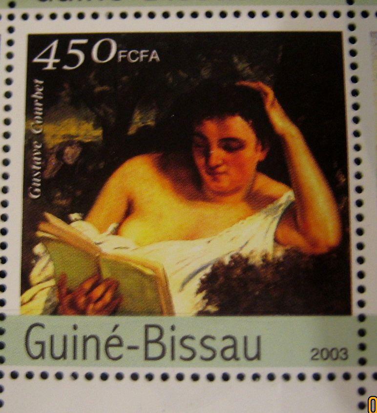 Марка Гвинея-Бисау 2003-06-25 год , «Картины импрессионистов», с картиной Густав Курбе — «Молодая женщина за чтением», Mi:GW 2319, номиналом — 450 CFA - West African CFA franc.