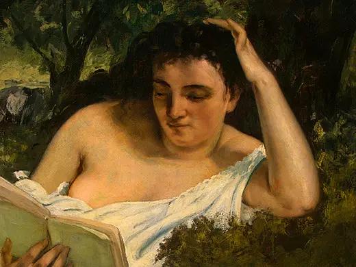 Молодая женщина за чтением, фрагмент 1 Гюстав Курбе 1866-68