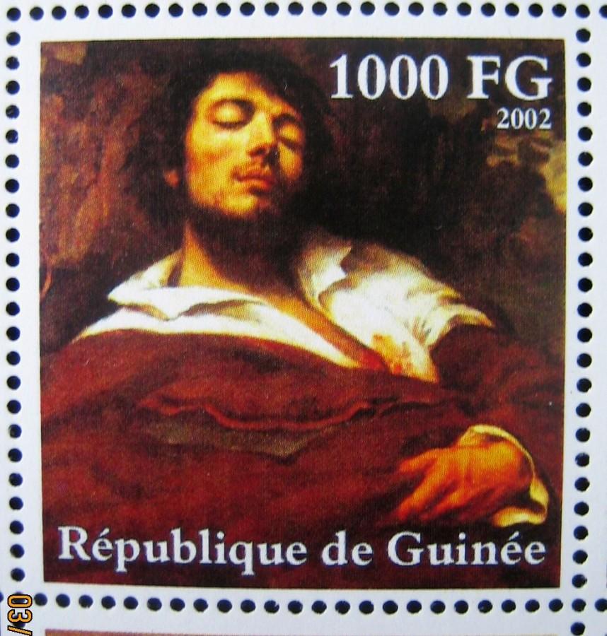Марка африканской страны Гвинея 2002-10-30 год , «Гюстав Курбе (1819-1877)», Mi:GN 3934A с изображением картины Густава Курбе, «Портрет художника, называемый -Раненый» номинал — 1000 GFr - Гвинейских франков