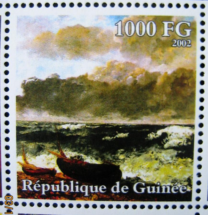 В 2002-10-30 году африканская страна Гвинея Mi:GN 3935A на котором изображена картина «Морской шторм» Густава Курбе, номинал — 1000 GFr - Гвинейских франков