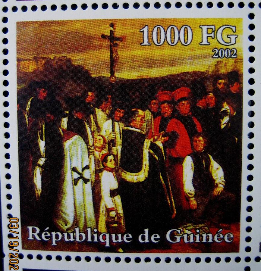 Марка африканской страны Гвинея 2002-10-30 год , «Гюстав Курбе (1819-1877)», Mi:GN 3957A с изображением картины Густава Курбе, «Похороны в Орнане» номинал — 1000 GFr - Гвинейских франков