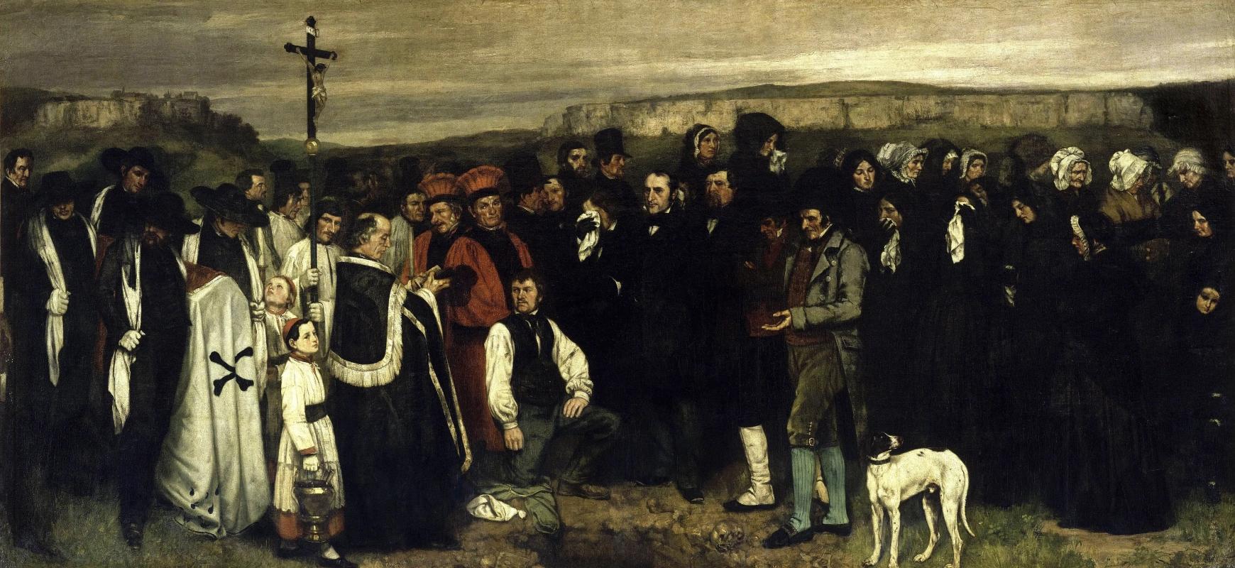 Похороны в ОрнансеГюстав КурбеЖивопись, 1850, 668 × 315 см Musee d'Orsay, Париж