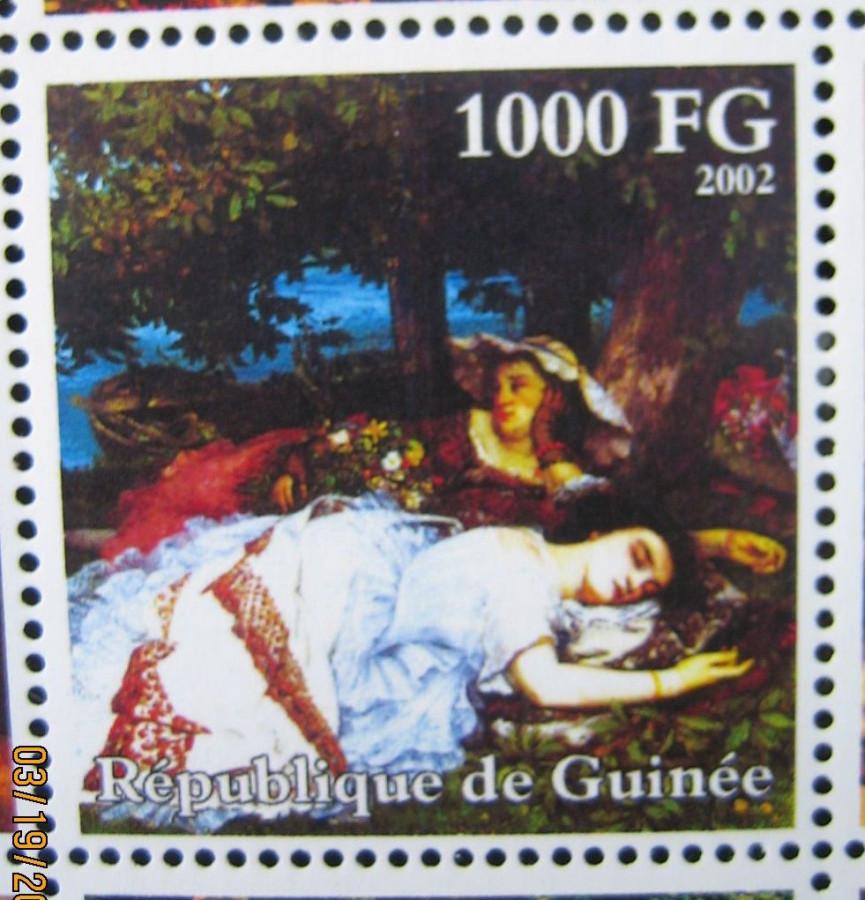 Марка африканской страны Гвинея 2002-10-30 год , «Гюстав Курбе (1819-1877)», Mi:GN 3938A с изображением картины Густава Курбе, «Девушки на берегу Сены» номинал — 1000 GFr - Гвинейских франков