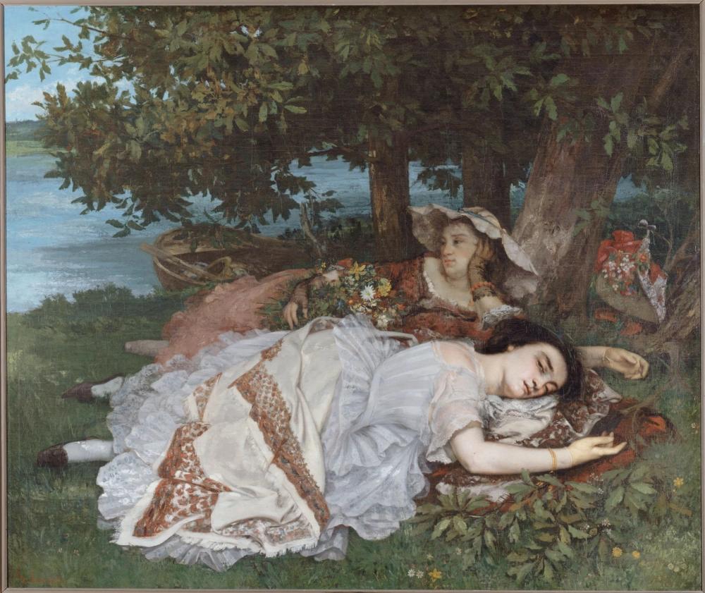«Девушки на берегу Сены (Лето)» Гюстав Курбе 1857, 206 × 174 см