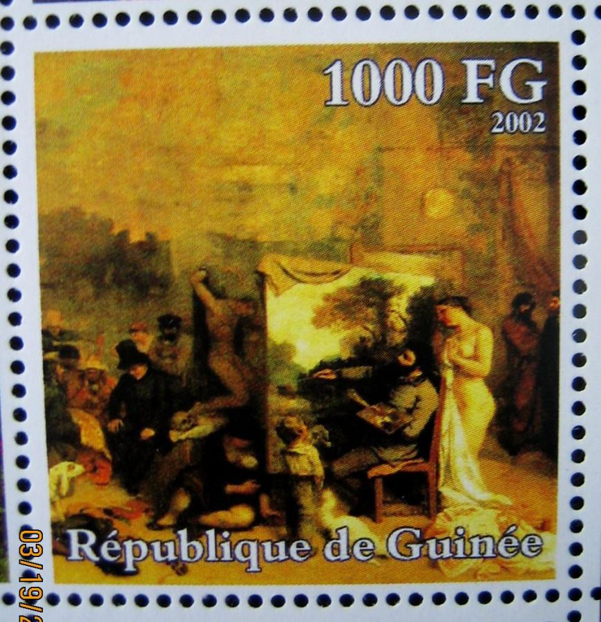 Марка африканской страны Гвинея 2002-10-30 год , «Гюстав Курбе (1819-1877)», Mi:GN 3939A с изображением картины Густава Курбе, «Ателье» номинал — 1000 GFr - Гвинейских франков