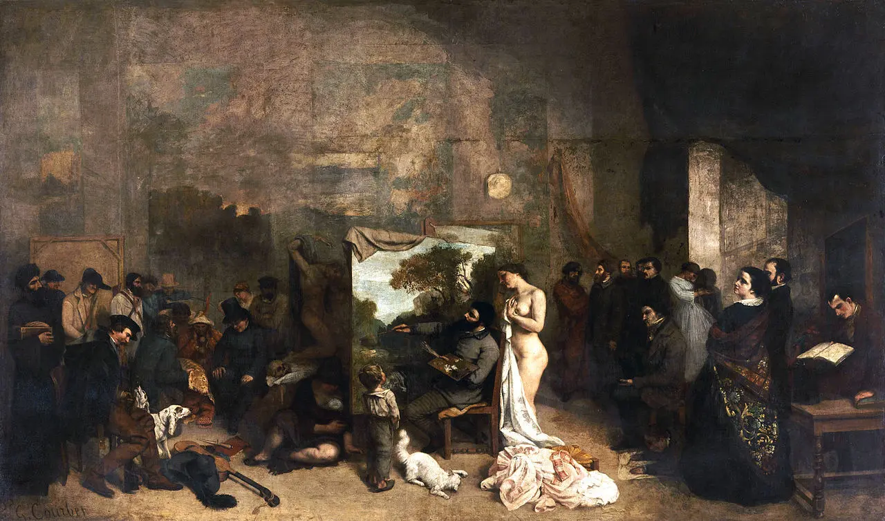 Мастерская художника Гюстав Курбе 1855, 361 × 598 см Musee d'Orsay, Париж