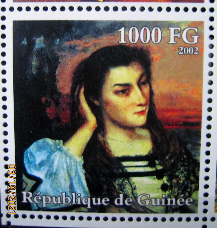 Марка африканской страны Гвинея 2002-10-30 год , «Гюстав Курбе (1819-1877)», Mi:GN 3940A с изображением картины Густава Курбе, «Портрет Габриеллы Борро» номинал — 1000 GFr - Гвинейских франков