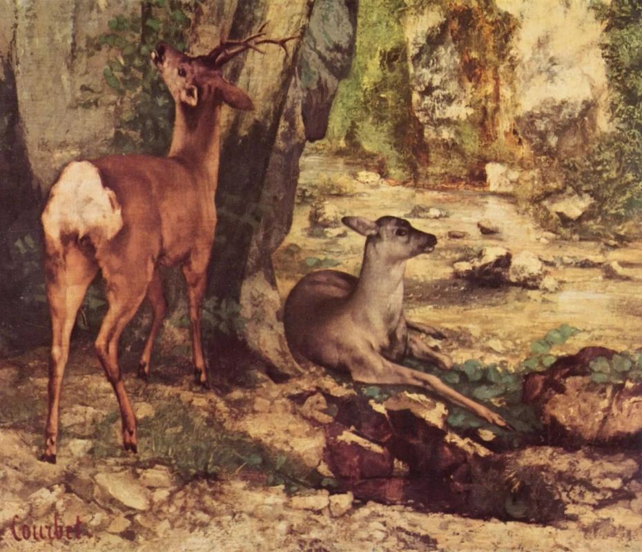 Вольер для косули у ручья Фонтан радости. Деталь 1866 Гюстав Курбе 209 × 174 см