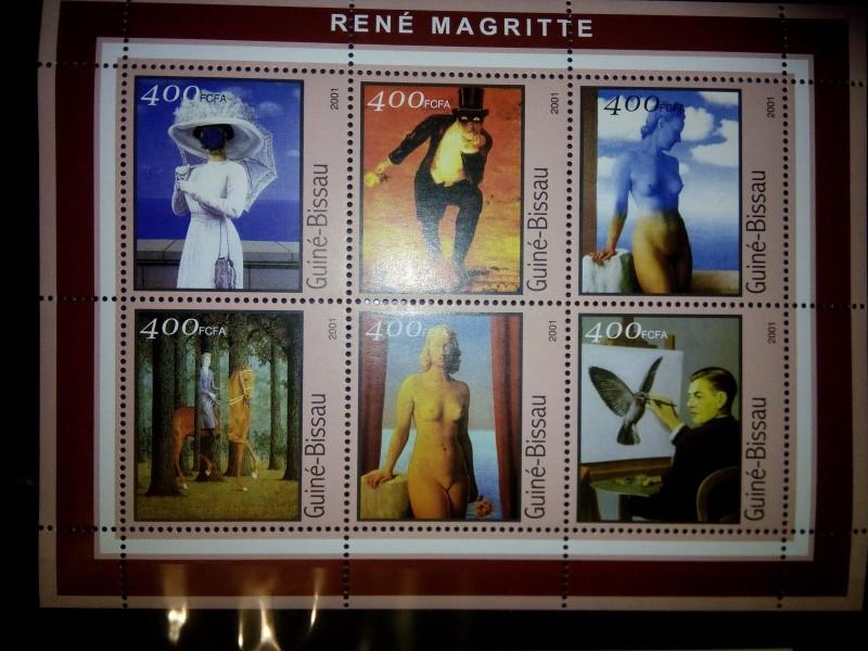 На минилисте из 6 марок  африканской страны Гвинея-Бисау 2001г.,   номиналом — 6*400 CFA  Mi:GW 1684-1689KB картины художника Рене Магритт.