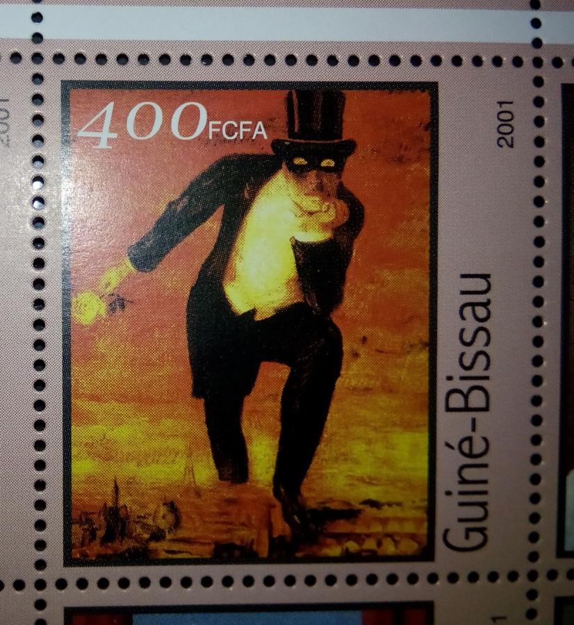 Марка Гвинея-Бисау 2001г., на малом листе «Картины Рене Магритт» на марке номиналом — 400 fr Mi:GW 1685 , репродукция с картины «Пламенное возвращение»