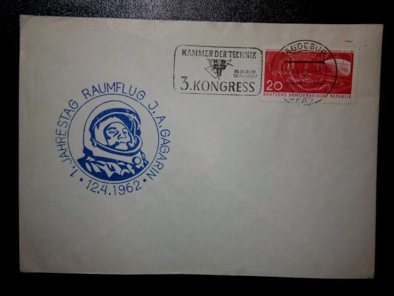 На конверте первого дня марка ГДР 1961-04-18 Космонавт Ю. Гагарин в кабине управления КК у пульта управления Mi:DD 823, Sn:DD 550, Yt:DD 541, Sg:DD E557, AFA:DD 626, номинал —20 Pf.
