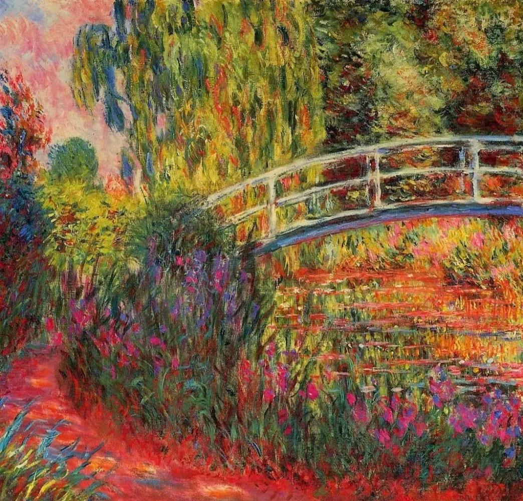 Японский мостик (Пруд с водяными лилиями, ирисы) Клод Моне, 1900, Местонахождение: Бостонский музей изящных искусств, Бостон