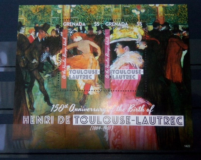Блок Гренады 2014 год , Женщины из салона на улице Муленруж, картины Анри де Тулуз-Лотрека, Mi:GD BL869, Sn:GD 3995, номинал — 2*5 EC$ - Восточно-карибский доллар