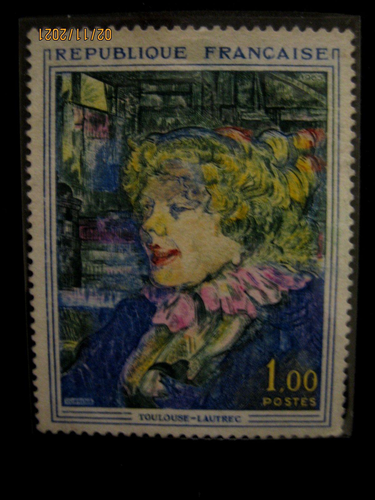 марка Франции 1965 год,  Тулуз-Лотрек, номинал — 1,00 1 ₣ «Англичанка со звезды в Гавре » Yt:FR 1426, Mi:FR 1504, Sn:FR 1113, Sg:FR 1671, AFA:FR 1527