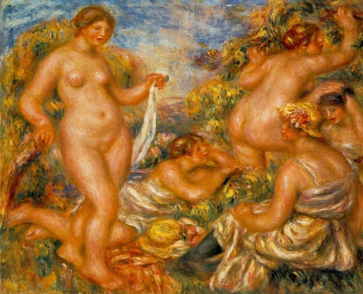Пьер Огюст Ренуар , Пять Купальщиц 1918; 67x81см холст/масло; The Barnes Foundation, Philadelphia, US