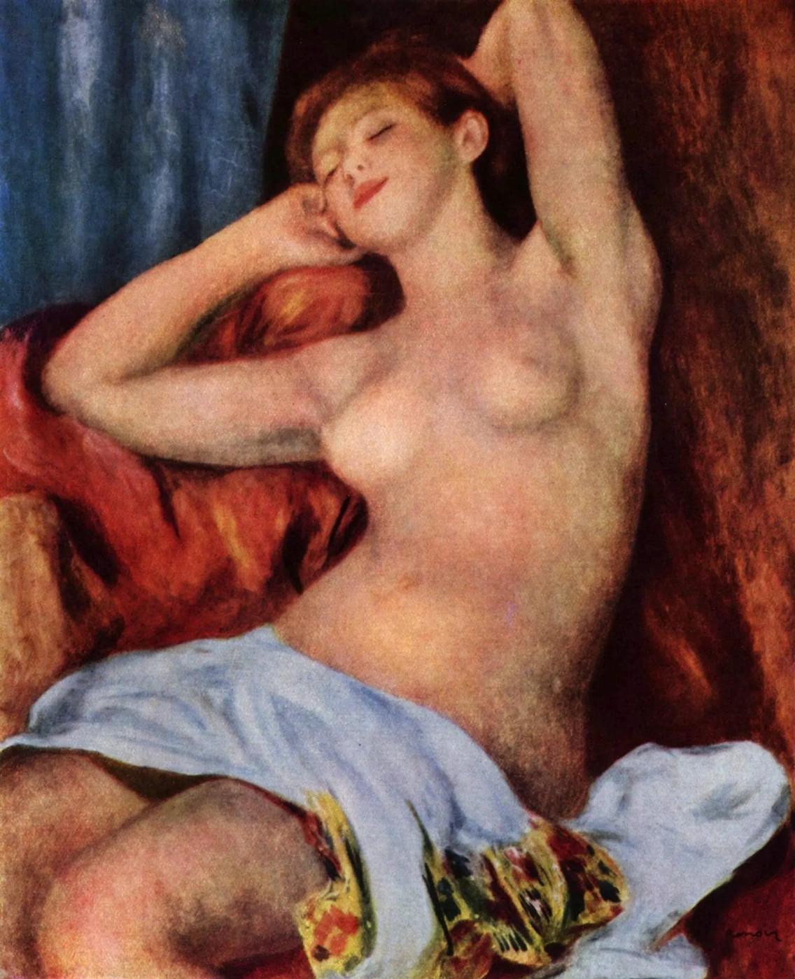 Спящая купальщица Пьер Огюст Ренуар 1897, 81×65 см Местонахождение: Собрание доктора Оскара Рейнхарта, Винтертур