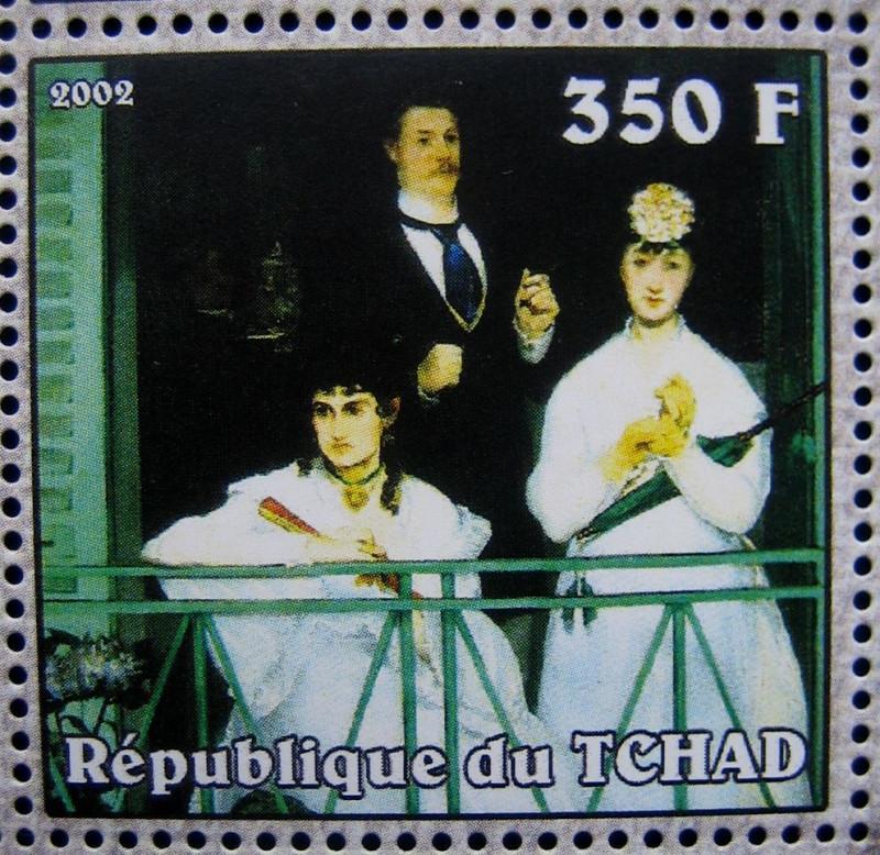 Марка Чад 2002-04-10, Эдуард Мане «», по каталогy: Mi:TD 2339A, Sn:TD 949f , Номинал — 350 FCFA - Центральноафриканский франк КФА.