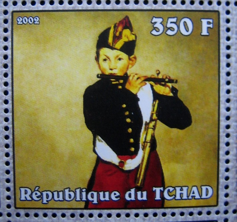 Марка Чад 2002-04-10, Эдуард Мане «Флейтист», по каталогy: Mi:TD 2337A, Sn:TD 949d , Номинал — 350 FCFA - Центральноафриканский франк КФА.
