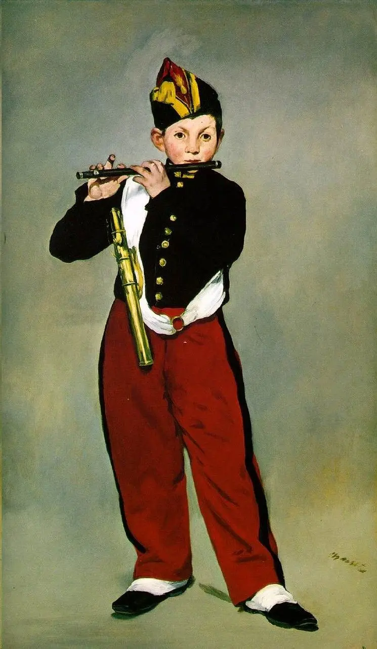 Флейтист Эдуард Мане, 1866, 160×98 см, Местонахождение: Музей д'Орсе, Париж