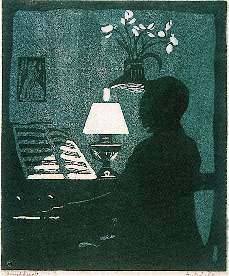 """""""Кандинский играет на фисгармонии"""" Габриэле Мюнтер (1907), 14 × 12 см"""