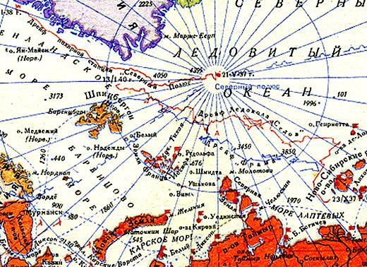 Карта полярных экспедиций на пароходе «Георгий Седов», парусном судне «Фрам» и полярной станции «Северный полюс»