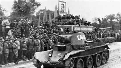 БТ-7 на параде в честь победы над Японией в г. Ворошилов-Уссурийский. 16 сентября 1945 года.