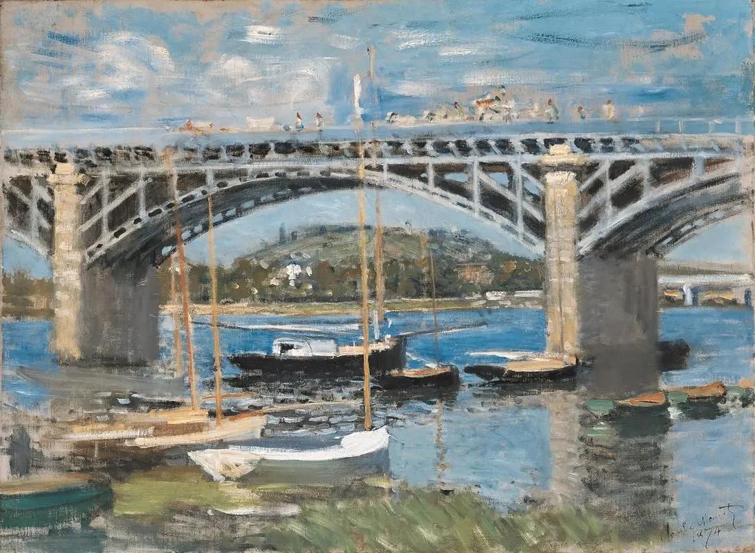 Мост в Аржентёе Клод Моне, 1874, 89.8×81.4 см, Новая пинакотека, Мюнхен