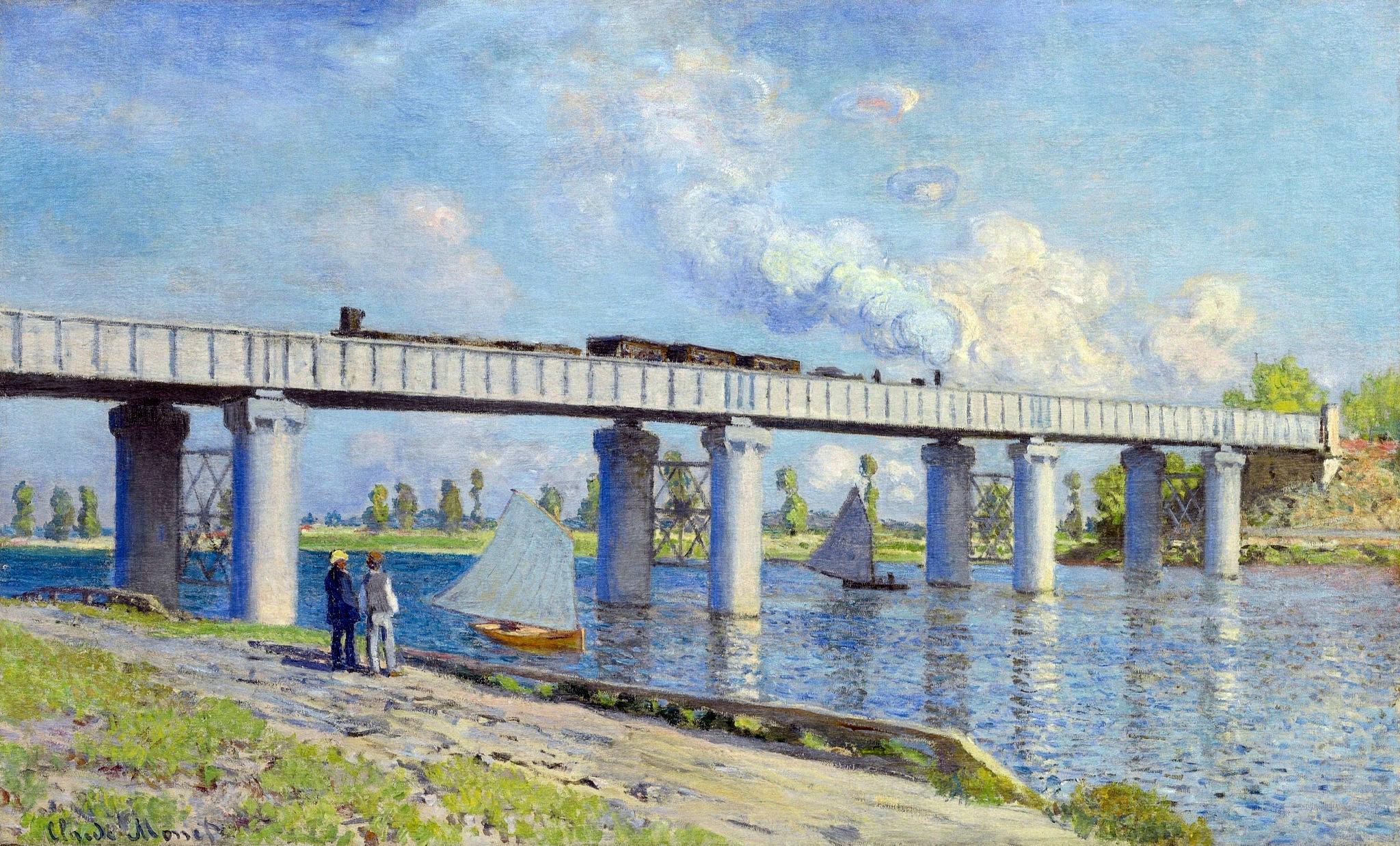 Железнодорожный мост в Аржантёе 1873г97х58см холст/маслоЧастное собрание