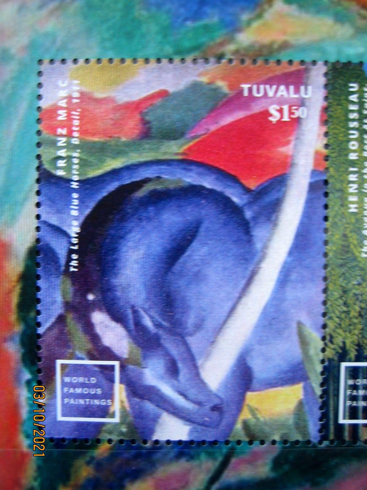 """Марка Тувалу 2014-08-14 Mi:TV 2047 """"Известное мировое искуство"""" Франц Марк Большие синие лошади, номинал — 1.50 $"""