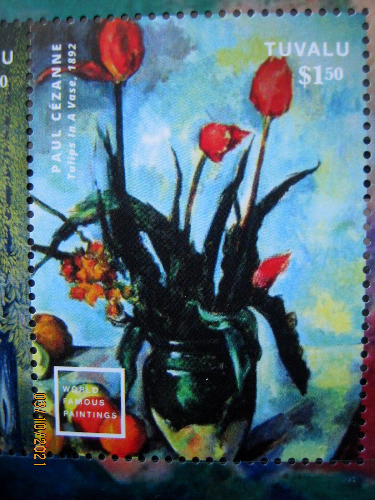 """Марка Тувалу 2014-08-14Mi:TV 2049, """"Известное мировое искуство""""   Поль Сезанн, «Тюльпаны в вазе» 1892гноминал — 1.50 $"""