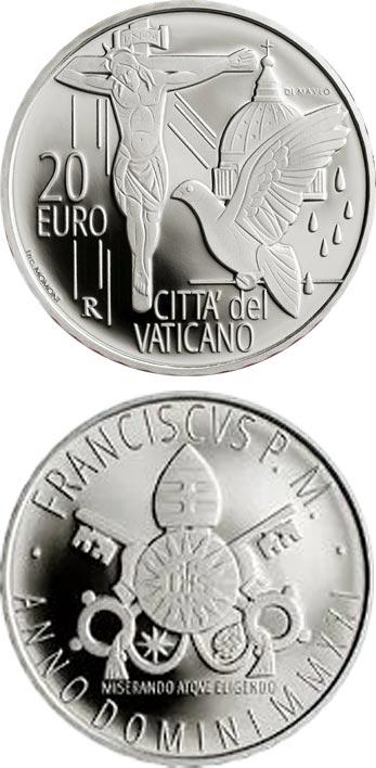 серебряная монета Ватикана в честь Папы Франциска номиналом 20 евро,  вес - 28 г
