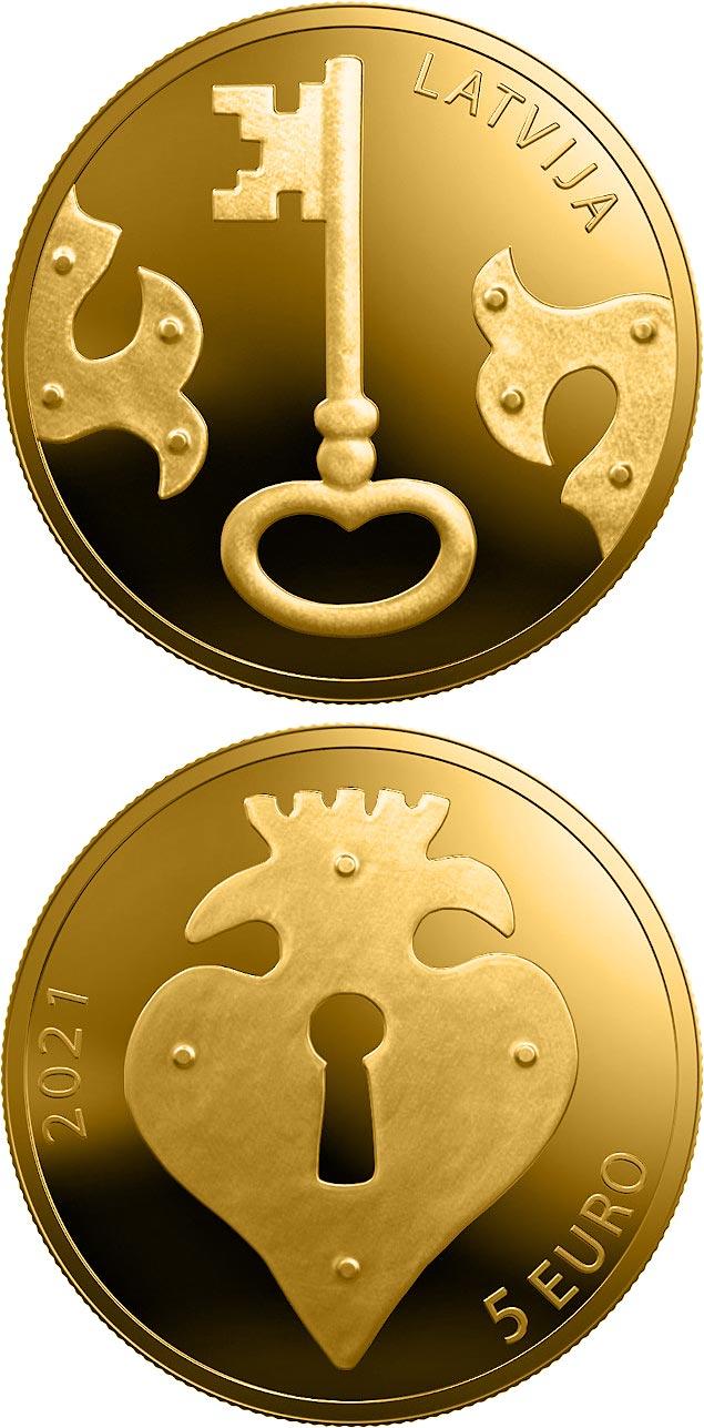 Монета Латвии, номинал - 5 евро, вес - 1.24 г, диаметр: 13.92 мм, металл - 999.9 золото