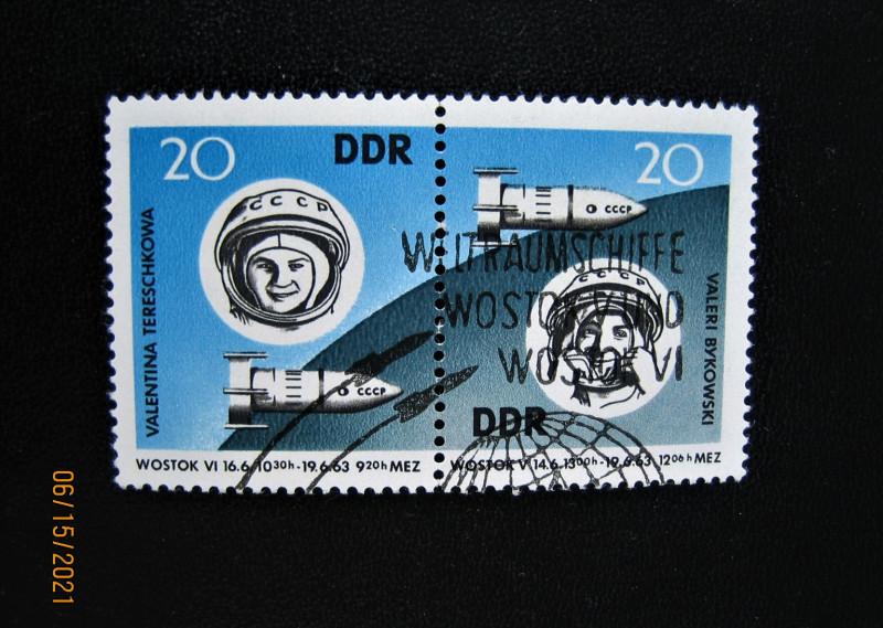 Сцепка ГДР 1963-07-18 серии Космические полеты, Терешкова, номер по каталогу № Mi:DD 970, Sn:DD 655, Yt:DD 673, Sg:DD E691, AFA:DD 765A, номинал — 20 Pf. В. Быковский, номер по каталогу №Mi:DD 971, Sn:DD 656, Yt:DD 674, Sg:DD E692, AFA:DD 765B, номинал — 20 Pf.