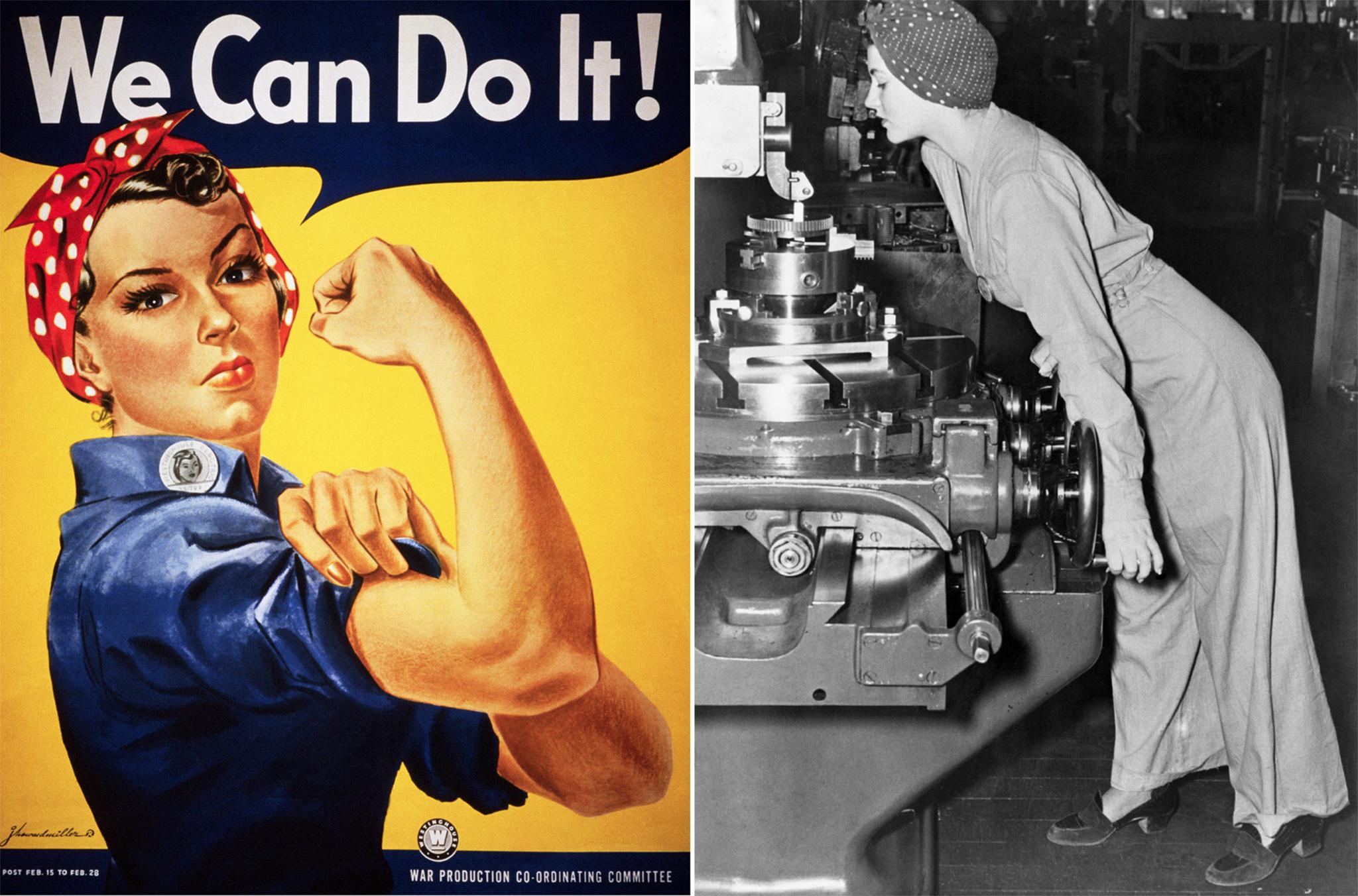 """Вдохновением для знаменитого плаката времен Второй мировой войны """"Клепальщица Рози"""" послужила фотография 1942 года ныне покойной Наоми Паркер Фрэйли. (© Corbis/Getty Images; © Bettmann/Getty Images)"""