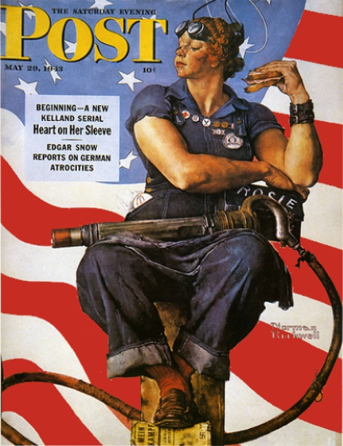 Рози заклёпочница иллюстрация Норманоа Роквелла 29 мая 1943 года. Выпуск журнала The Saturday Evening Post