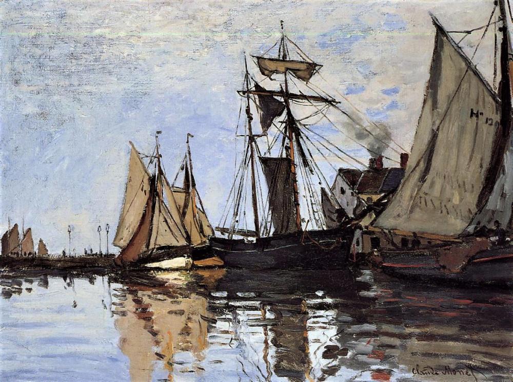 Картина «Лодки в порту Онфлёра»,  Клода Моне, 1866г холст/масло Частное собрание