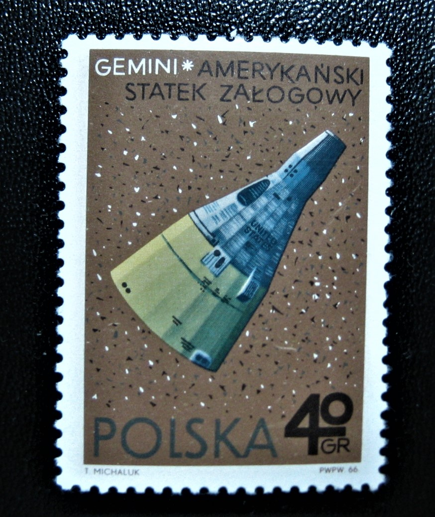 Марка Польша 1966-12-20, космический корабль США Gemini, номер по каталогу Mi:PL 1731, Sn:PL 1467, Yt:PL 1583, Sg:PL 1710, AFA:PL 1616, Pol:PL 1583, номинал — 40 gr - Польский грош