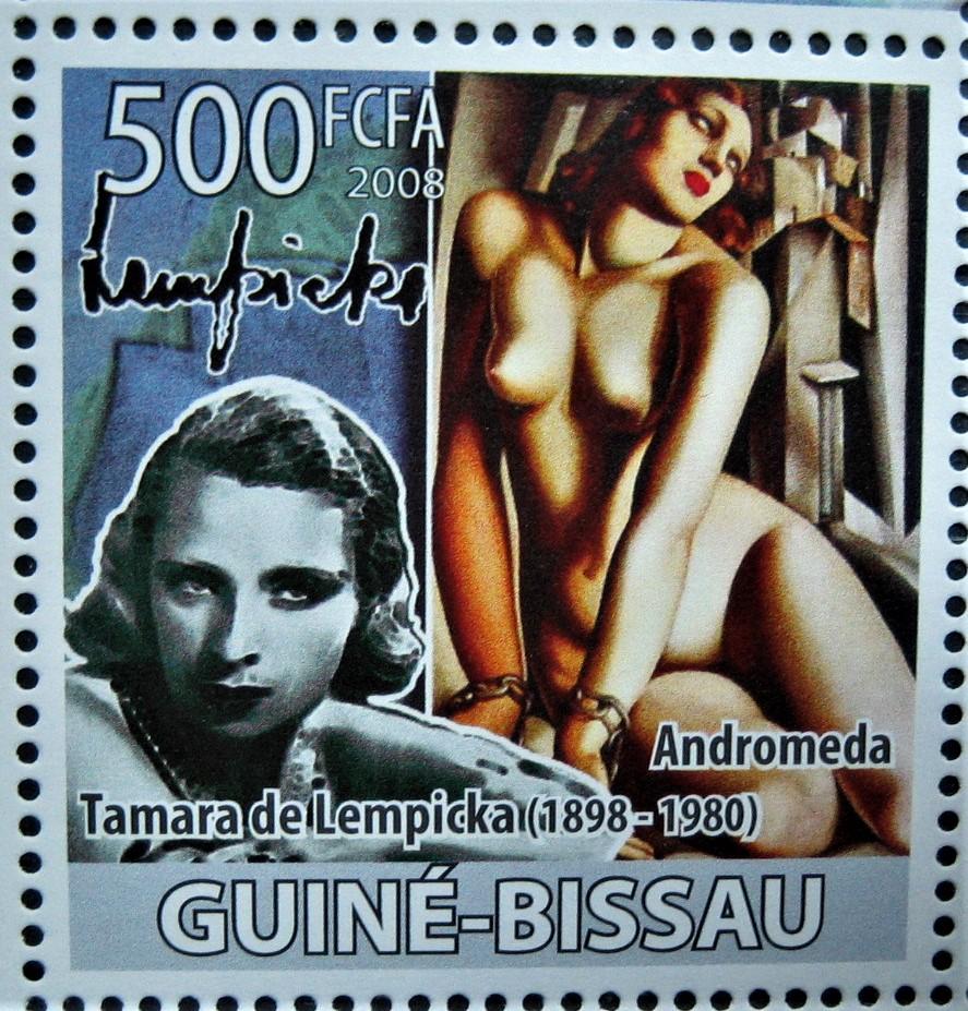 Гвинея-Бисау , 5 августа 2008 г., марка из серии посвященной «Дню рождения Тамары Лемпицкой» (1898-1980), на марке картина «Андромеда» (1929),  номер по каталогу   Mi:3894, номинал — 500 FCFA  (западноафриканских франков)
