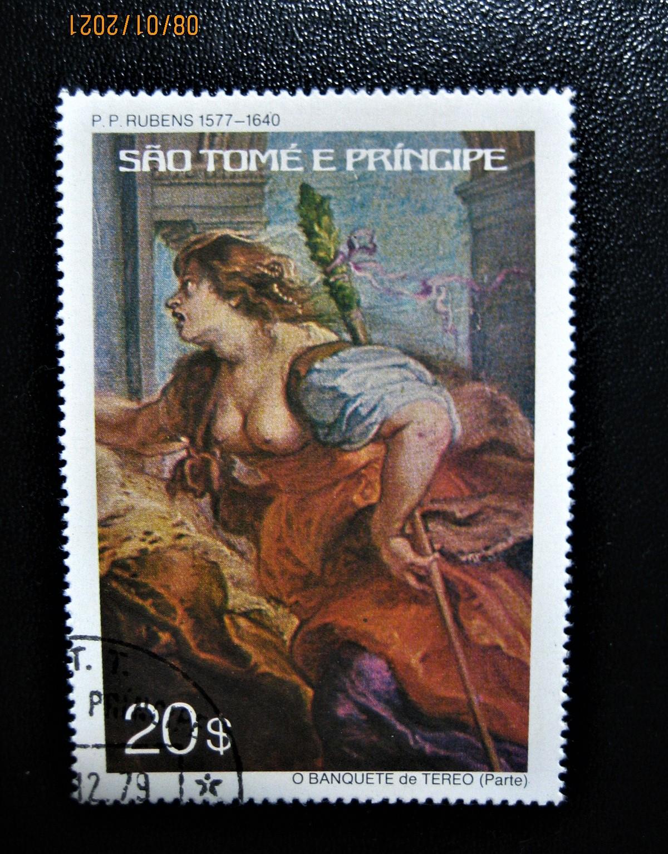 марка   государства Сан-Томе и Принсипи выпущенная в обращение 1977-06-28, с изображением картины «Банкет Терея (Рубенс и мастерская)» номиналом — 20$, номер по каталогу № Mi:ST 456, Sn:ST 445, Yt:ST 447
