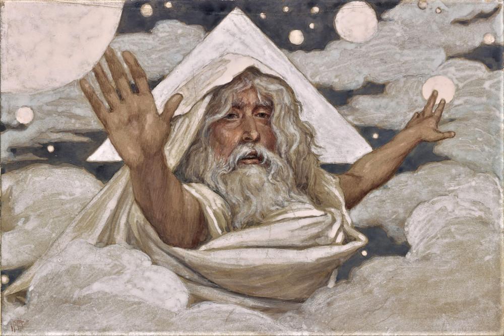 Джеймс Жак Жозеф Тиссо (француз, 1836–1902) Бог, творяющий мирок. 1900–1902Картон, гуашь,7 3/4 x 5 1/4 дюйма (201 x 135 мм)Коллекция Morgan Family