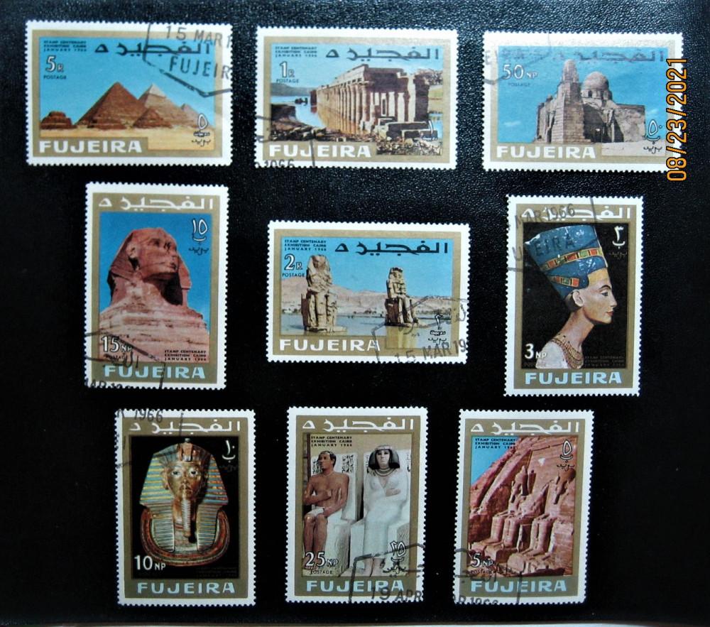 В 1966-01-27 году Фуджейра единственный эмират в ОАЭ, выпустил серию марок «Искусство Древнего Египта — археология» №№ Mi:FU 49A- 57A, Yt:FU 38-FU 46, Sg:FU 57-FU 65