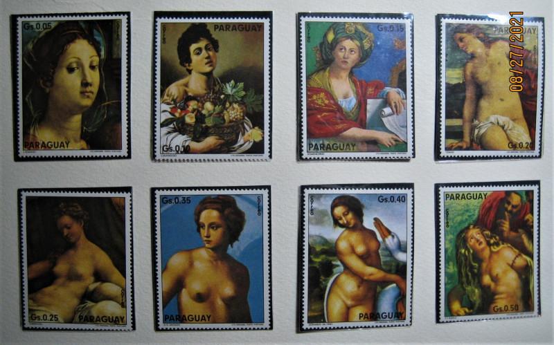 Серия   Парагвай 1975-01-15 г. Картины с виллы Боргезе-Рим №№Mi:PY 2615- 2622, Sn:PY 1545a — 1545h