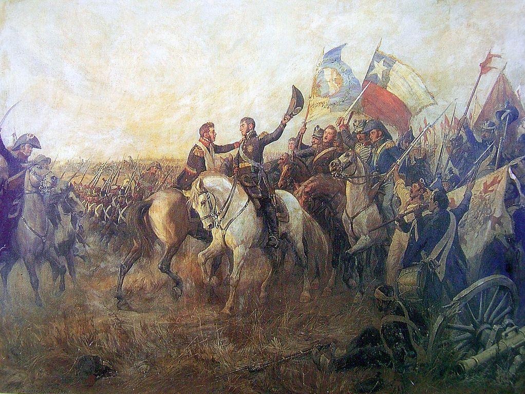 Хосе де Сан-Мартин и Бернардо О`Хиггинс обнимаются после победы при Майпу