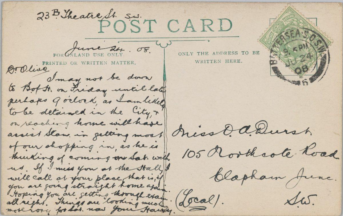 Оливковая открытка «Луна» (оборотная сторона), 1908 г.