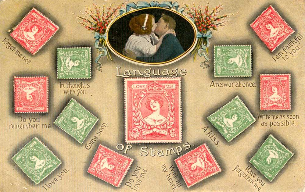 Открытка с языком марок